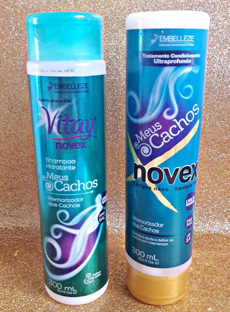 Meus Cachos Embelleze Shampoo Vitay e Creme Novex